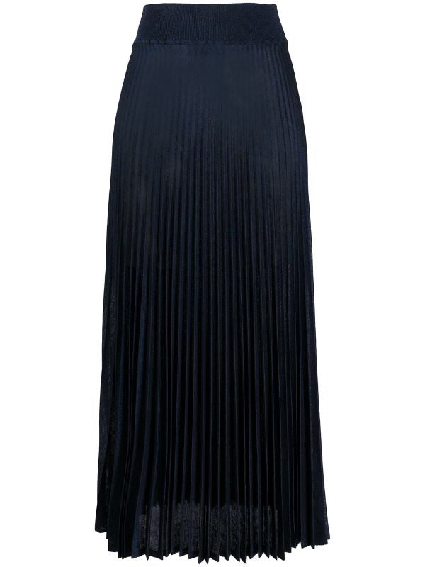 Blue Pleated knit midi skirt