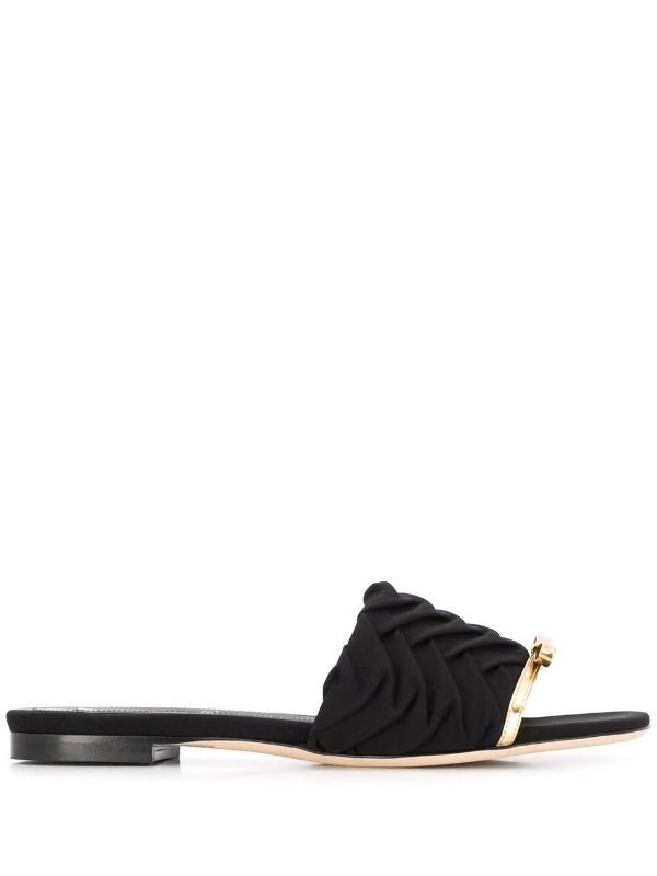 Pleated Slide Sandals