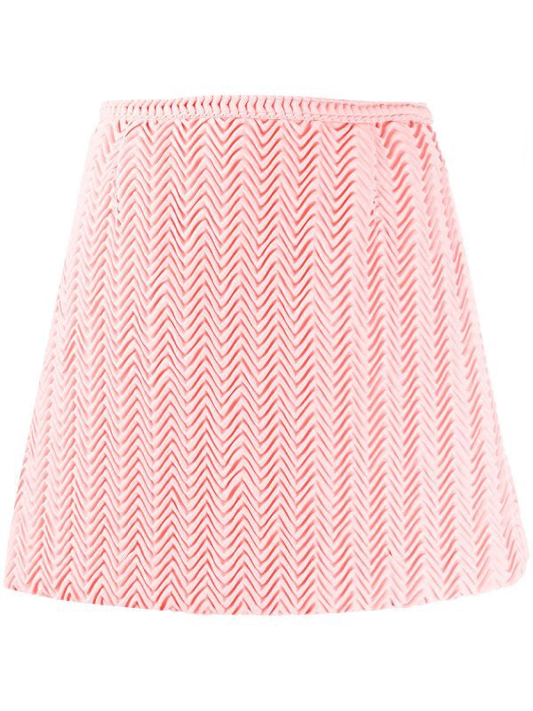 Pleated zigzag mini skirt