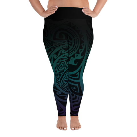 All-Over Print Plus Size Leggings - Tatou V - Midnight Teal & Purple