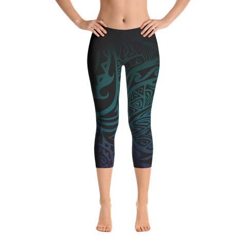 Capri Leggings - Tatou V - Midnight Teal & Purple