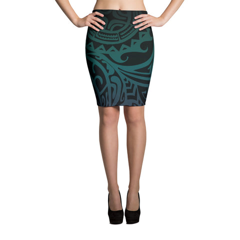 Pencil Skirt - Tatou V - Midnight Teal & Purple
