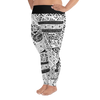 All-Over Print Plus Size Leggings - Tatou II - White