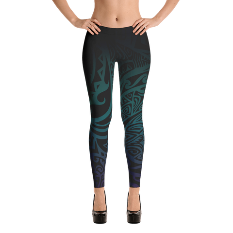Leggings - Tatou V - Midnight Teal & Purple