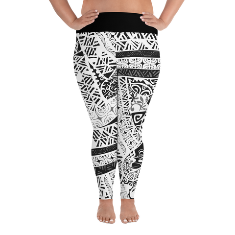 All-Over Print Plus Size Leggings - Tatou Piti - White