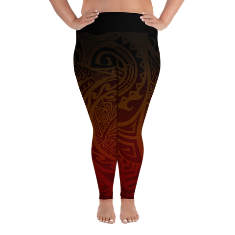 All-Over Print Plus Size Leggings - Tatou V - Tehani's Fire