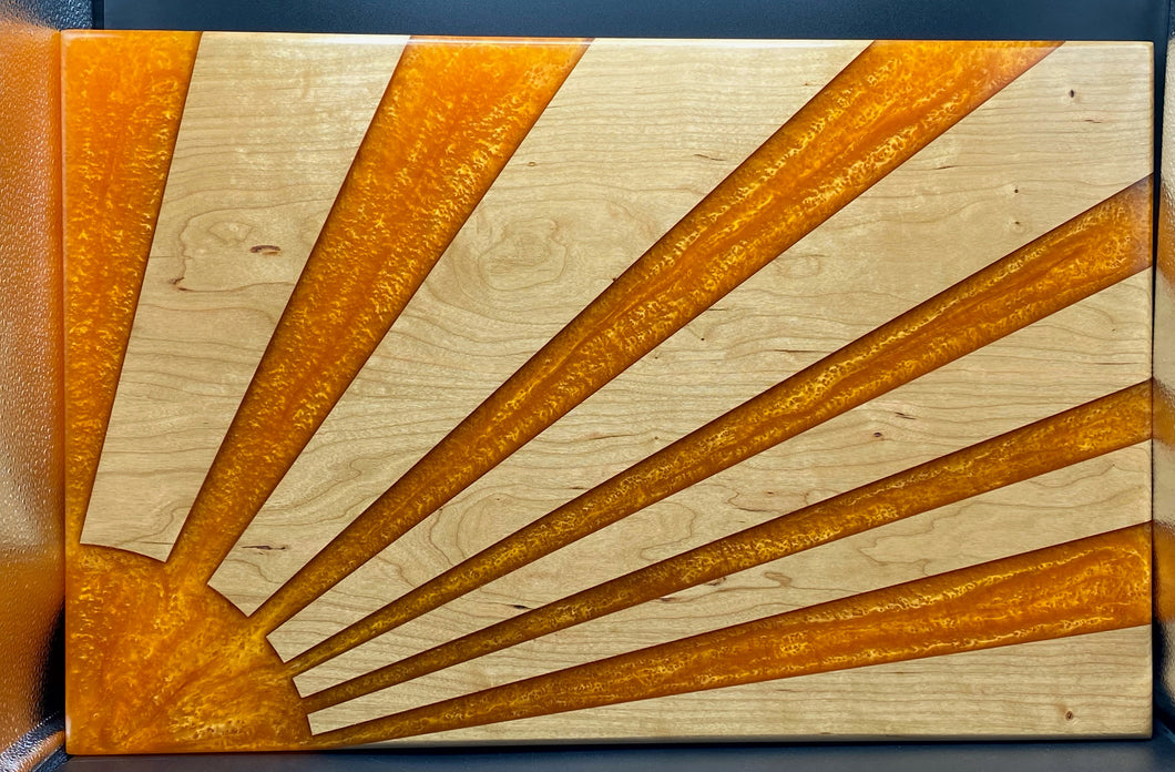 Sunrise Wood and epoxy wall art