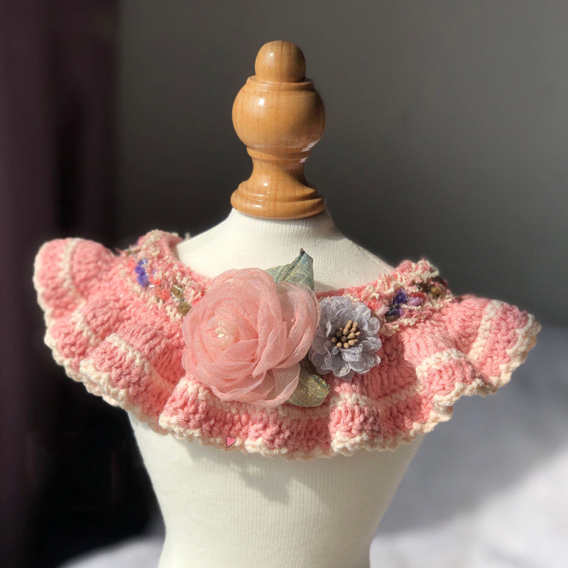 Time For Romance Pink Flower Hand-Made Collar