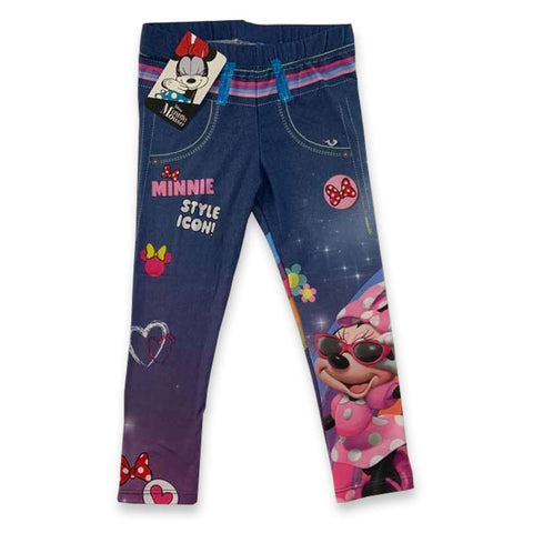 Leggings Bambina Disney Minnie Mouse Blu Denim