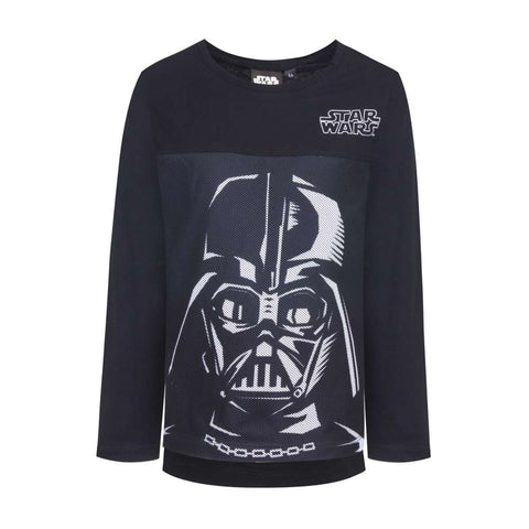 Maglia Bimbo manica lunga logo Star Wars Darth Fener Skywalker Nero