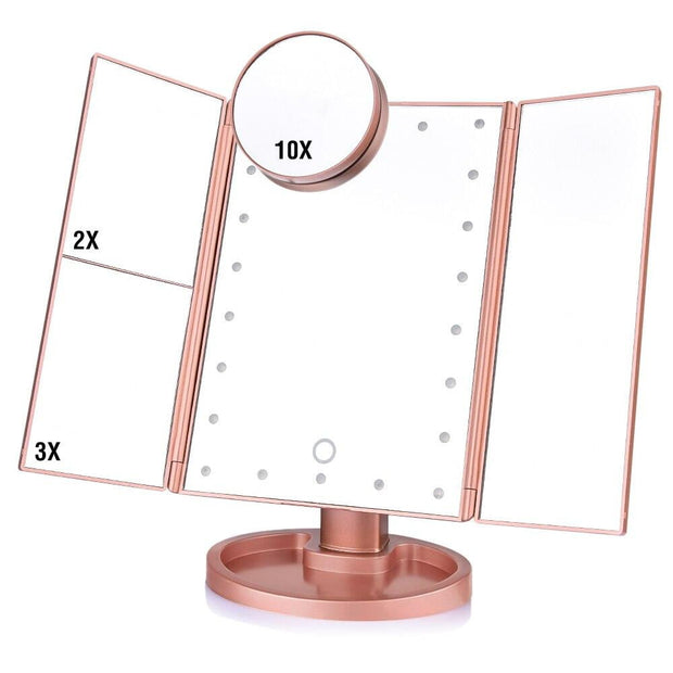 Trifold Lighted Magnification Mirror