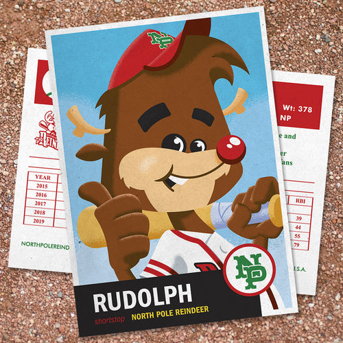 Rudolph the Red-Nosed Shortstop Baseball Trading Card