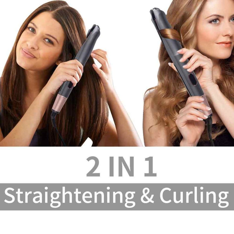 Hair Straightener Curling Iron 2 in 1 Tourmaline Ceramic Twisted Flat Iron