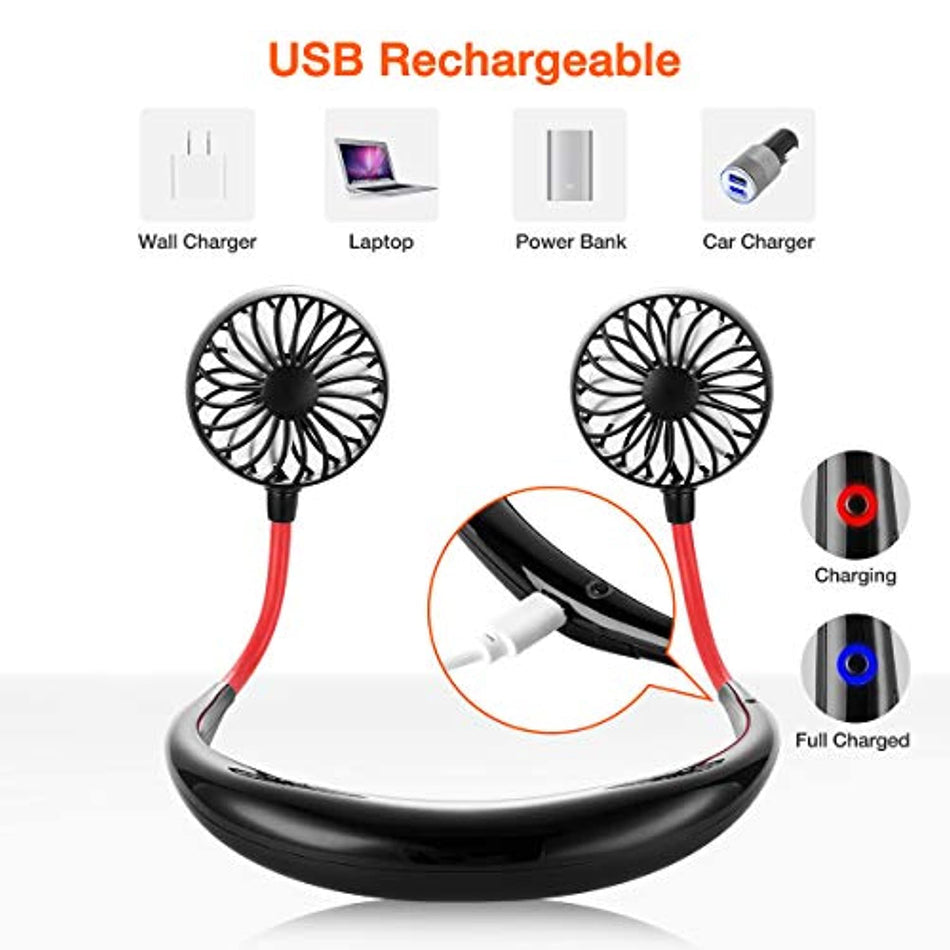 Portable Fan Hand Free Small Personal Mini USB Fan 2000mAh Rechargeable Battery Operated Neck Fan 12H Working Hours 3 Speeds 360 Degree Adjustment Head for Office Travel Outdoor Camping(Black)