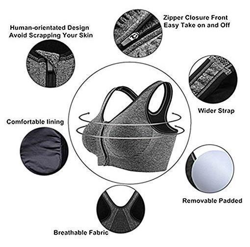 Zipper Bra of Breathable Wireless Sweat-Absorbing Front