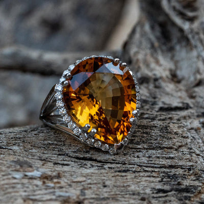 Large natural citrine statement ring for women