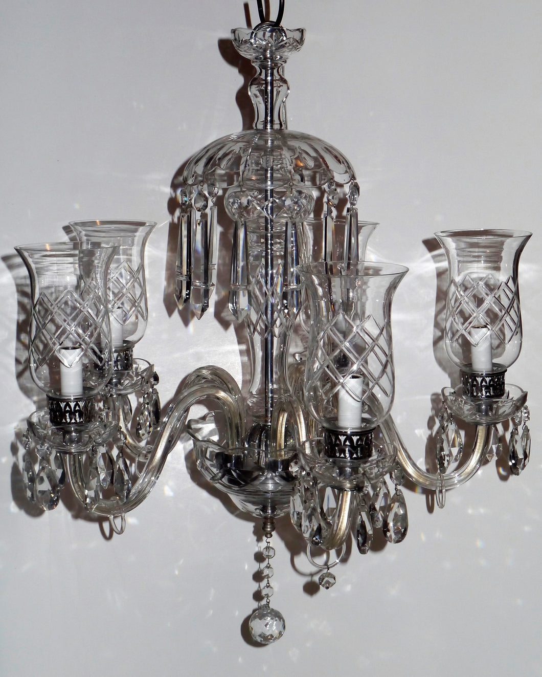 Antique French Traditional Style 5 Arm Crystal Chandelier with Crystal Cheminee'