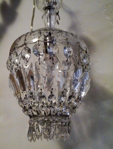 Antique French Empire Basket Chandelier w Crystal Crown -1 of 2