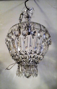 Antique French Empire Basket Chandelier w Crystal Crown -2 of 2