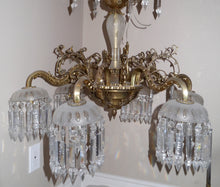 Load image into Gallery viewer, Antique French Neoclassical 6 arm Chandelier with Individual Canopied Chandeliers