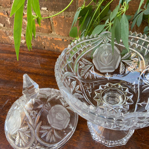 Spectacular Cut Glass Lidded Dish with Pedestal