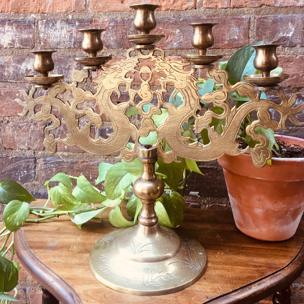 Incredible Solid Brass 5 Arm Candelabra with Dragon Motif