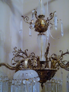 Antique French Neoclassical 6 arm Chandelier with Individual Canopied Chandeliers