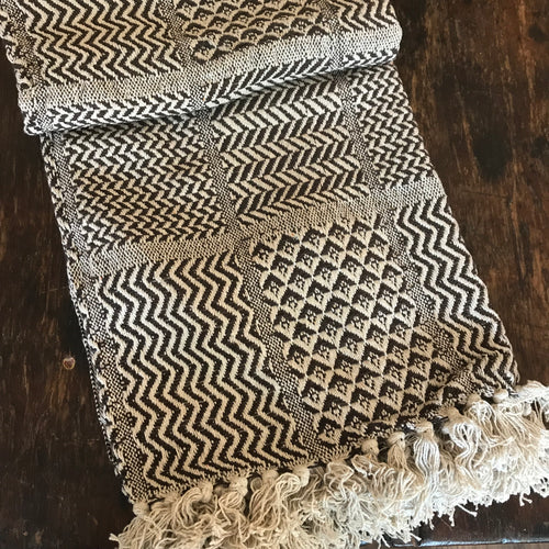 Cotton Handloomed Throw - Brown Patterned