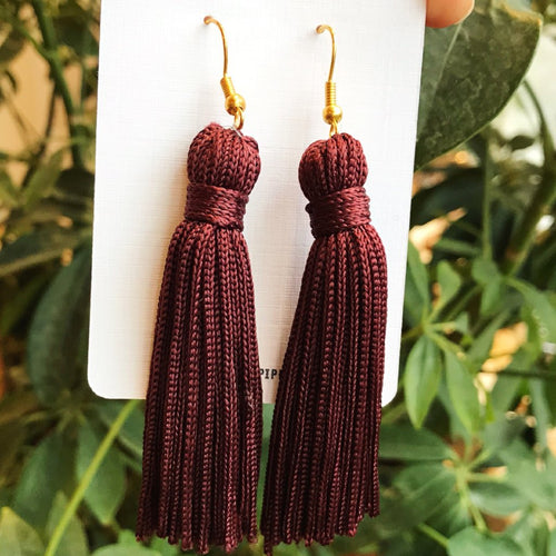 Plum Silk Tassel Earrings