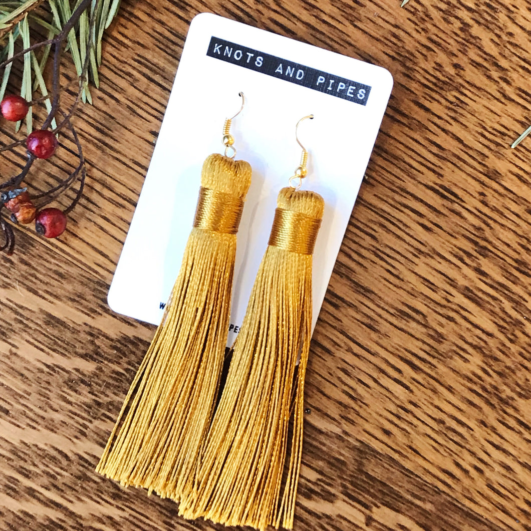 Mustard Gold Wispy Silk Tassel Earrings