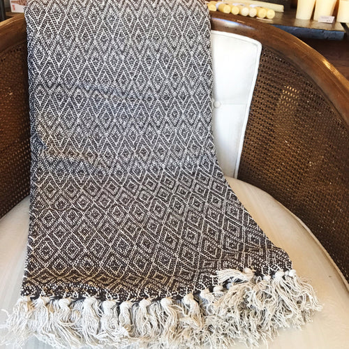Cotton Handloomed Throw - Brown