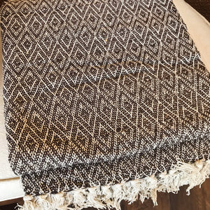 Cotton Handmade Throw - Brown