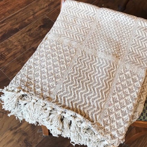 Cotton Handmade Throw - Natural Patterned