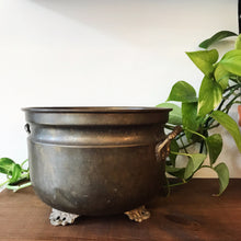 Load image into Gallery viewer, Antique Footed Brass Planter