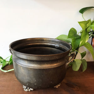 Antique Footed Brass Planter
