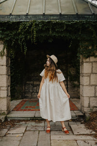 Anne Dress 100% Linen Garden Dress, Hamilton Ontario Ontario Made Canadian Made The Pale Blue Dot Casual Timless Elegant Versatile All Season Autumn Summer Winter Spring Layer James St. North Wedding Casual Romantic Style Loose Flowing Short Sleeve Pockets Boat Neck Pockets