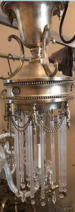 Arriving Soon - Antique Small Victorian Pewter Chandelier with Tube Crystals