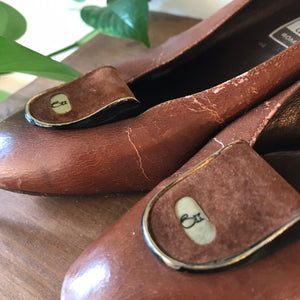 Vintage Distressed Brown Leather Shoes (Size 38)
