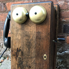 Load image into Gallery viewer, Antique 1900s Northern Electric Wall Mount Crank Wood Cabinet Telephone
