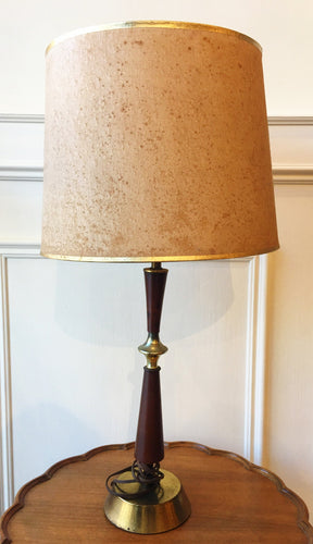 Wood and Brass Retro Mcm Lamp with Shade