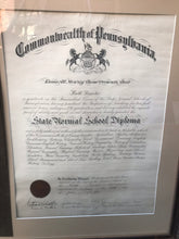 Load image into Gallery viewer, 1915 Teachers Certificate and State Normal School Diploma of Ruth McIntire Rossiter