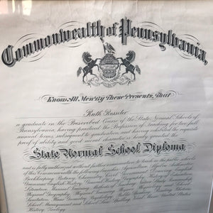 1915 Teachers Certificate and State Normal School Diploma of Ruth McIntire Rossiter