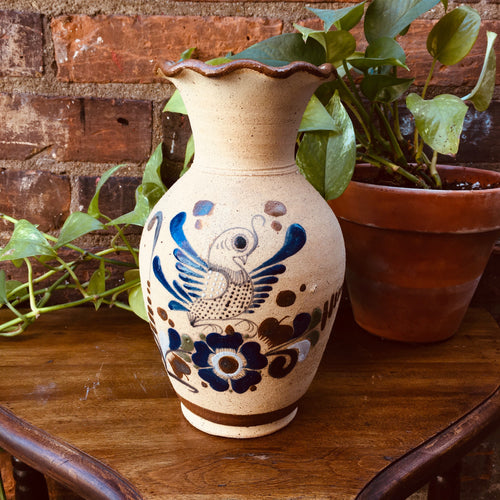 Large Vintage Folk Art / Boho Vase (Scalloped Edge)