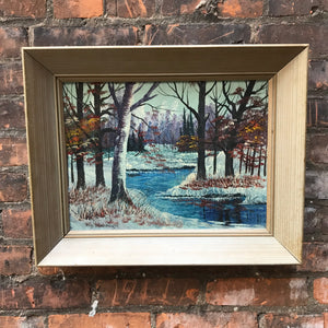 Original Painting of Winter Scene in Wooden Frame