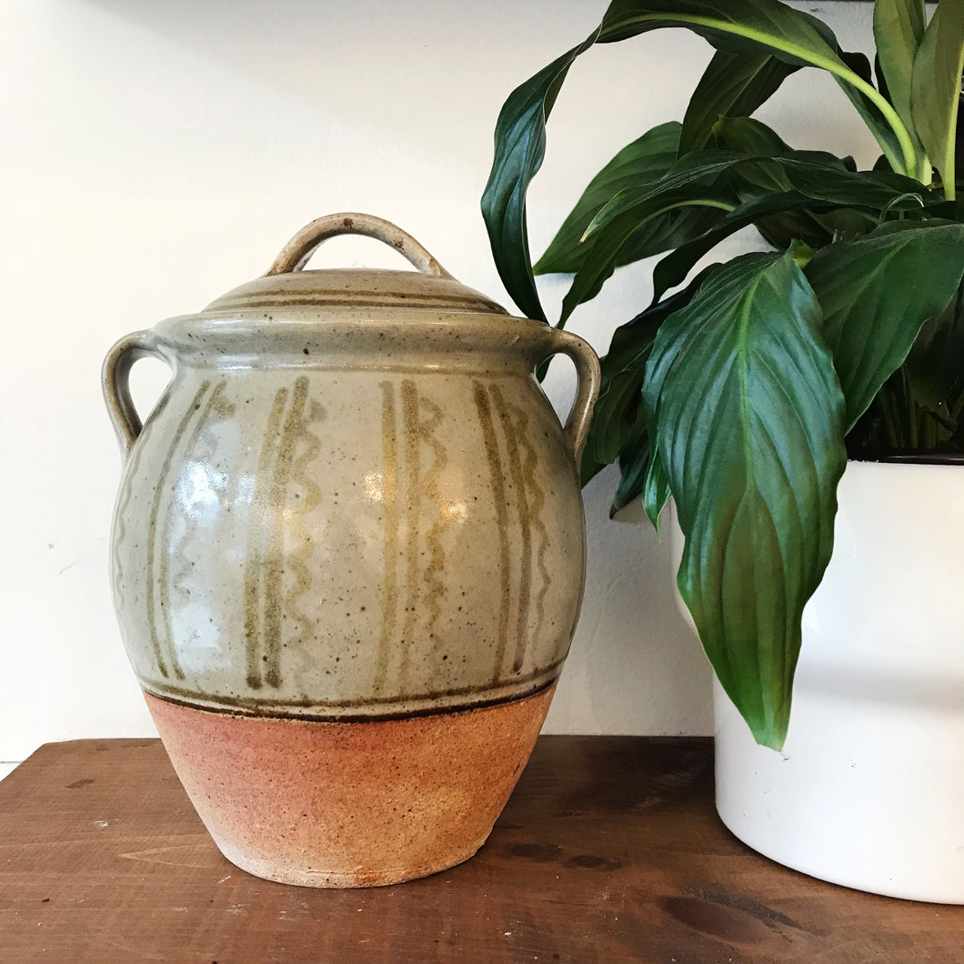 Large Handled Green Pottery Vase