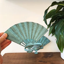 Load image into Gallery viewer, Vintage Turquoise Fan Wall Hanging