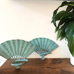 Vintage Turquoise Fan Wall Hanging
