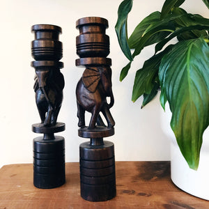 Wood Carved Elephant Candlestick