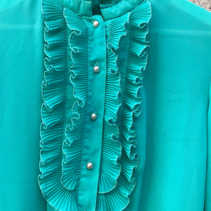 Vintage Teal Dress with Frills (S)