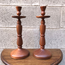 Load image into Gallery viewer, Pair of Wood Candleholders